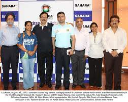 Sahara India Pariwar at the felicitation ceremony of the World Champion Ms. Tejasmini Sawant and Mr. Gagan Narang