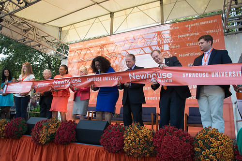 From left: Donald Newhouse, Lorraine Branham, Kari Clark, Oprah Winfrey, Alan Gerry and Kent Syverud cut the ribbon on the new Newhouse Studio and Innovation Ceremony