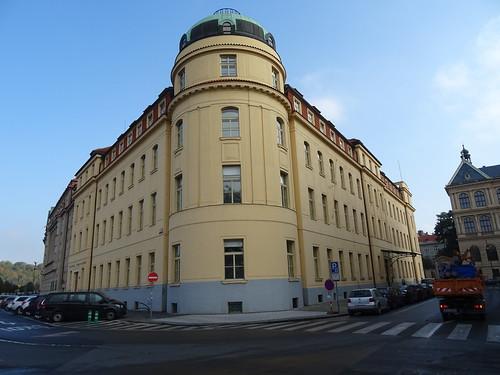 Praha, České republiky (the art of very historic buildings not far away from the core of downtown Prague), Dvořákovo nábřeží/Na Rejdišti (Prager Konservatorium/Pražská konzervatoř)
