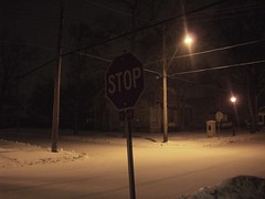 Stop. (tru(c)k?) Tags: light snow lamp sign post stop