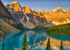 Good Morning (Matt Champlin) Tags: life morning travel camping light summer lake snow canada mountains reflection nature sunrise landscape glow olympus alberta getty banff moraine banffnationalpark morainelake mywinners aplusphoto morainelakesunrise