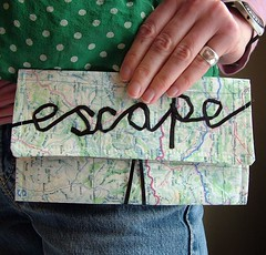 escape map clutch purse with ribbon lettering by memake