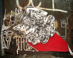 imminent disaster (Luna Park) Tags: nyc streetart ny brooklyn stencil wheatpaste engine lunapark redhook imminentdisaster
