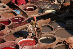 Leather worker (Ingiro) Tags: red colour leather tint morocco fez marocco worker fes tannery ingiro i500 interestingnes66