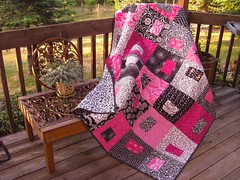 Putting on the Pink Quilt (Quiltsalad) Tags: blue party fabric quilting grandkids quilts patchwork piecing sallyquilts