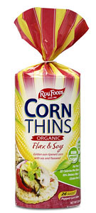 Real Foods Corn Thins Organic Flax Soy