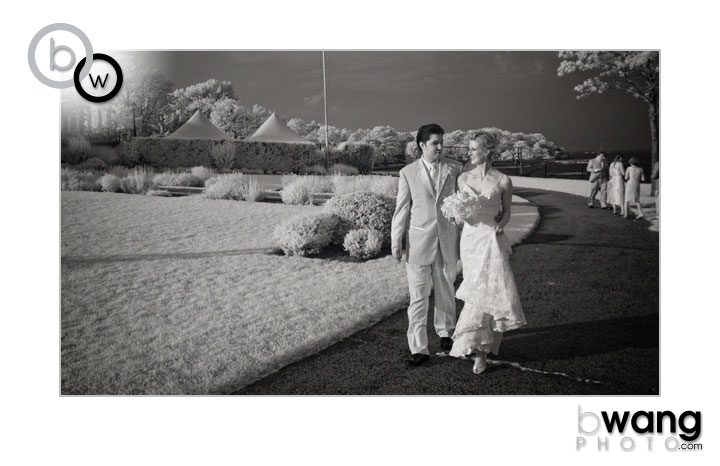 Cassie + Mike in an infrared wedding portrait at the Larchmont Shore Club