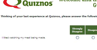 Quiznos Survey: Watch?