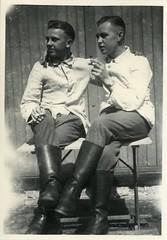 00619 varones (VARONES!) Tags: friends male men vintage couple uniform buddies friendship affection boots antique pals guys smoking mates affectionate varones