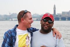 Two Guys on a Pier 1 (mausgabe) Tags: nyc skyline newjersey couple hudsonriver christopherstpier 2guys nikond60 70300mmf4556gvr tc14kenko
