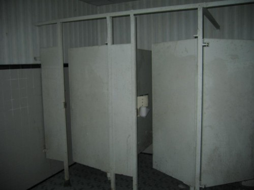 Bank of bathroom stalls