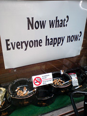 Everyone Happy Now? (Adriaan Bloem) Tags: english netherlands café sign bar happy leiden pub no cigarette smoke north protest nederland smoking end what everyone ashtray cigarettes ban now smokers roken horeca ashtrays noordeinde verbod