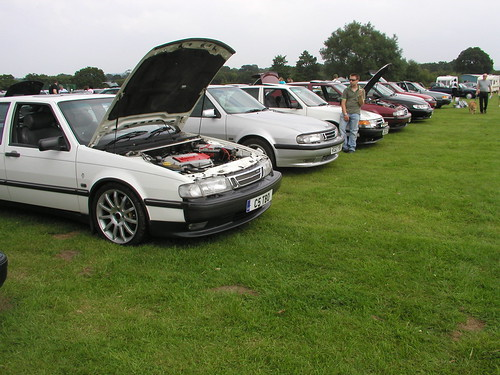 Saabs in a line at the SOC National