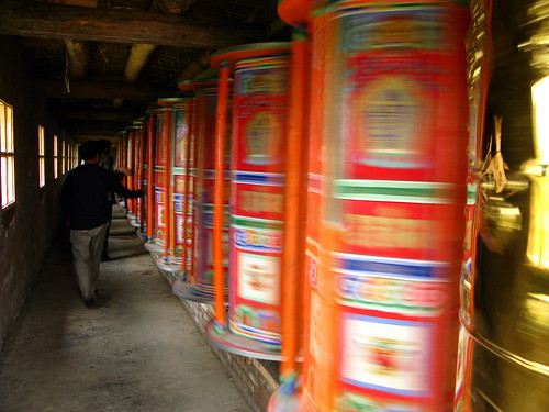 Prayer wheels in Arou Buddhist Temple in Arou, Qinghai Province, China