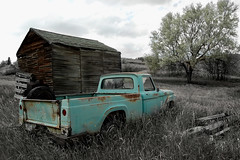 Ford Pickup with shed- Fairview, Montana (j_piepkorn65) Tags: old ford rural photoshop montana shed pickup exploration fairview