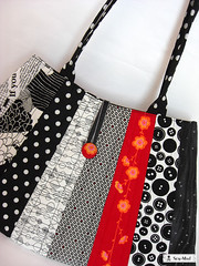 Monochrome? (sew-mad) Tags: red white black bag handmade sewing stripes patchwork handbag sewmadbadge sewmad