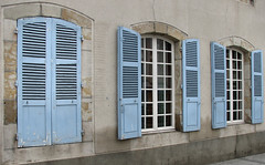 Open and closed.... (by_irma) Tags: blue france closed blauw open shutters frankrijk luiken montluon
