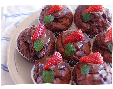 Chocolate, Walnut, Berry Muffins