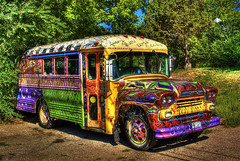 Colorful Colorado (Thad Roan - Bridgepix) Tags: music color bus beer advertising restaurant pub colorado colorful blues explore schoolbus hdr brewpub lyons oskarblues photomatix 200808