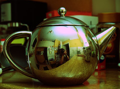 Project 365+1 Day 259 15/9/08 (jake1.0) Tags: kitchen silver crossprocessed flock olympus teapot  crossed reflectedselfportrait flocking  meandmycamera olympus 365days e500 259365 ashotadayorso project3662008 flickrnewpictures flickrnewpictures 259366 15september2008