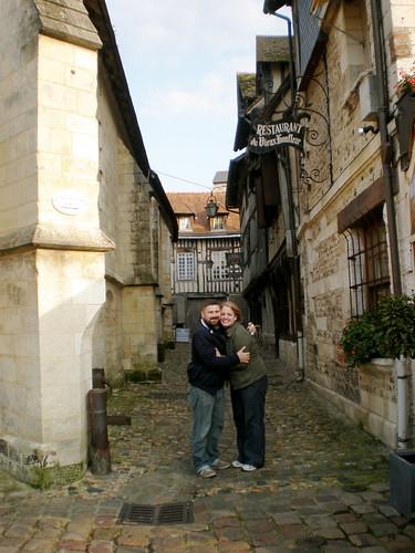 Us in alley in Honfleur