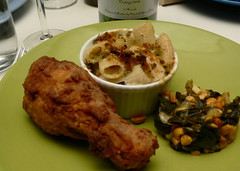 Fried Free-Range Drumsticks, Macaroni and Cheese with Fresh Penne, Taleggio, and Truffles, Greens with Spicy Peanuts (HarlanH) Tags: food chicken cheese dinner peanuts southern greens fried macaroni cookingclub newamerican
