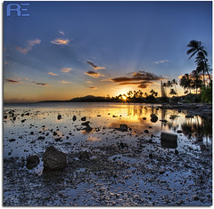 The Low Tide Calm (Ryan Eng) Tags: ocean sunset sky sun reflection water clouds reflections landscape hawaii nikon oahu lowtide sunrays hdr silhouet sunflare waterscape d90 5exposures explore169 18105mm vertorama ryaneng october72008