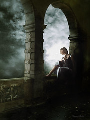 She dreams of a magical world (Nika Fadul) Tags: sky woman castle window girl looking darkness princess dreaming thinking lightning compilation balconny mnicafadul nikafadul