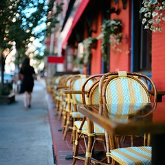 Red Restaurant (Inside_man) Tags: newyork reflection texture 120 6x6 mamiya tlr c220 film colors mediumformat colorful bokeh manhattan stripes soho citylife sidewalk sunnyday portranc outsidetable bamboochairs redrestaurant