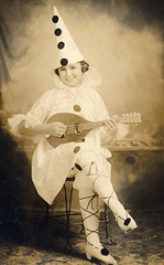 Edwardian child dressed as a pierrot (lovedaylemon) Tags: musician music vintage found child image mandolin instrument pierrot edwardian