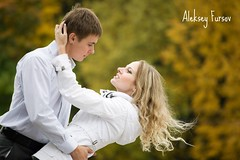 young couple in love (alexey05) Tags: park family autumn two portrait woman man cute love girl beautiful smiling shirt hair outdoors happy togetherness healthy holding couple fr