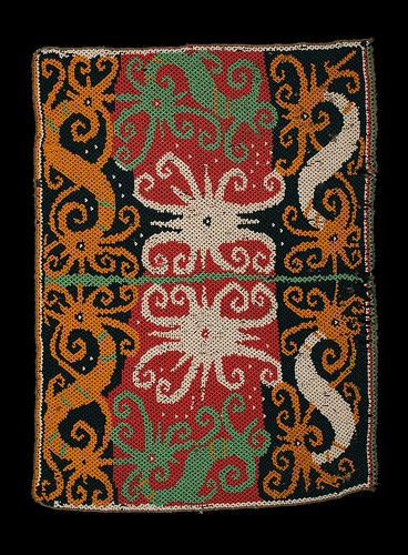 //Bead Panel// from a baby carrier, Kenyah people. Borneo 20th century, 36 x 26 cm. From the Teo Family collection, Kuching. Photograph by D Dunlop.