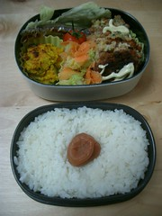 Mini-hamburger bento (skamegu) Tags: fish pumpkin salad rice bento japanesefood