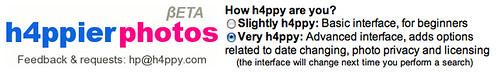 Captura de pantalla de h4ppierphotos seleccionando usuario avanzado