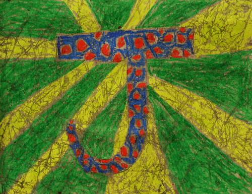 Jesse's Crayon Crackle Letter Painting