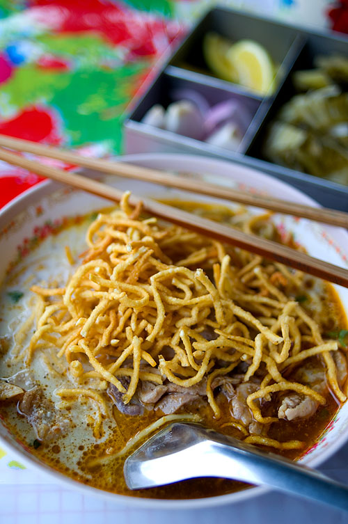 A bowl of khao soi at Khao Soi Saeng Phian, Phayao
