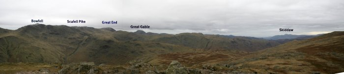 Bowfell GreatGable East to Skiddaw