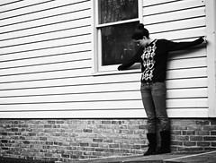 break the silence (sophie pellegrini) Tags: trees windows blackandwhite self reflections sweater backyard loneliness boots sophie teenphotographer
