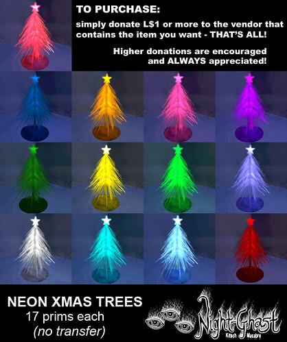 Neon Xmas Trees
