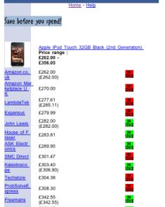 PriceRunner mobile: price comparison