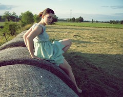 (Virginia Fenneltea) Tags: summer me girl field dress sunday haybale