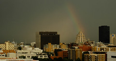Rainbow over the city (Thierry Valdin) Tags: panorama canada building montréal ville orage arcenciel gratteciel montržal