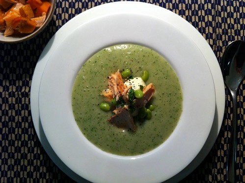 Watercress Soup with Tea-smoked Salmon by mjd-s