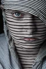 Lines (Lou Bert) Tags: portrait woman white black art girl face lines self paint stripes scraf
