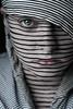 Lines (Lou Bert) Tags: portrait woman white black art girl face lines self paint stripes scraf