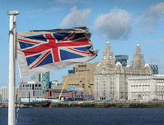 The Mersey Ferry flag flies in the breeze, nearly touching the Liver Bird (jimmedia) Tags: superbmasterpiece themerseyferryflagfliesinthebreeze nearlytouchingtheliverbird