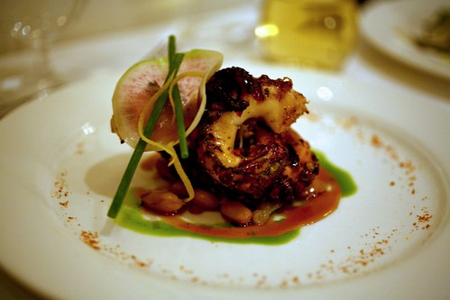 "Grilled Octopus with ""Borlotti Marinati"" and Spicy Limoncello Vinaigrette"