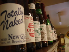 Row of New Glarus Bottles