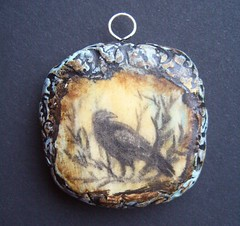 Ravens Watch 3-pendant (gabriel studios) Tags: original tree texture window nature necklace handmade drawing jewelry ornament clay handpainted crow etsy raven pendant polymer gabrielstudios michelegabrielstudios