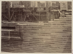 East wall of Courtyard brick work, construction of the McKim Building